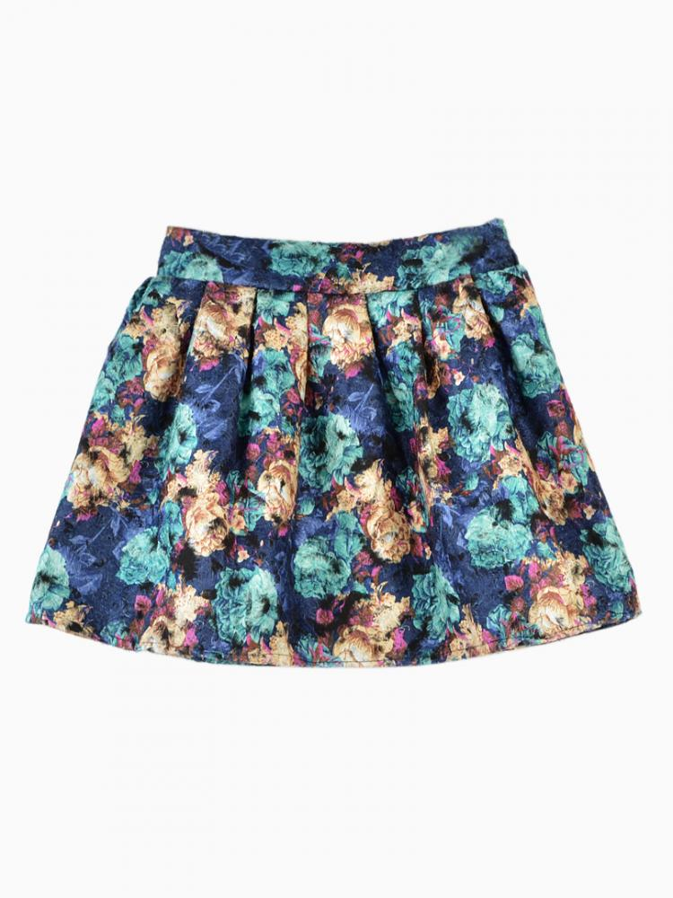 Blue Floral Skirt With Pleats | Choies