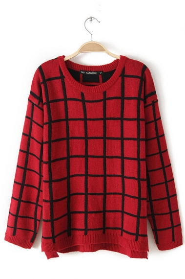 Red Grid Sweater