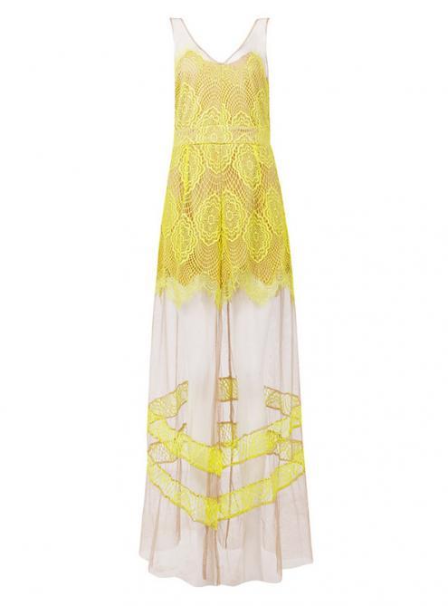 Yellow Lace Perspective Mesh Long Maxi Dress MX117$149