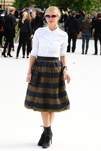 skirt blue gold yellow striped skirt horizontal stripes