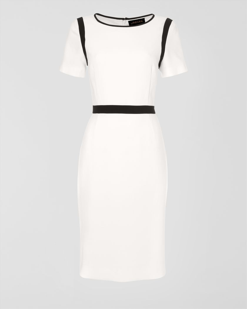 Crepe Dress with Navy Trim