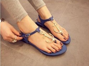 Blue Pirates Anchor T Belt Clip Toe Comfortable Flat Rubber Soles Sandals
