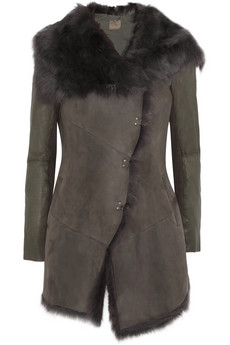 Muubaa Isabela shearling, leather and suede coat - 50% Off Now at THE OUTNET