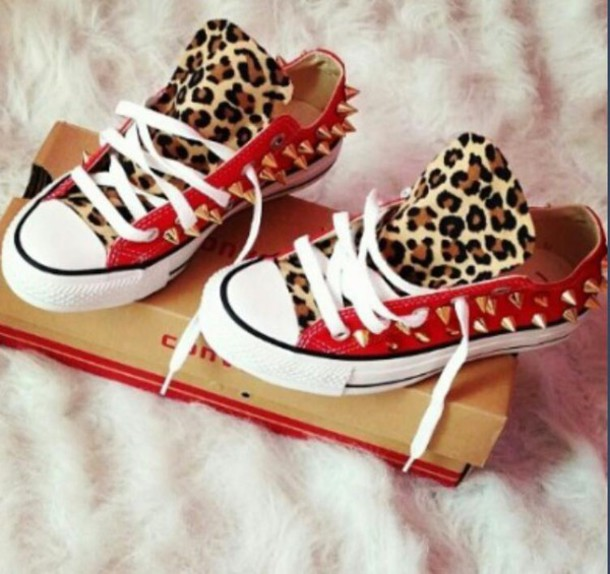 shoes cheetah print shoes red shoes studded converses converse tumblr fashion
