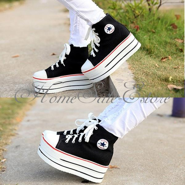 Women Ladies High Top Canvas Lace Up Comfort Inside Platform Sneaker Sport Shoes | eBay