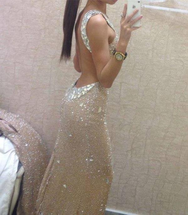 dress champagne open back prom dress long evening dress nude glitter back free