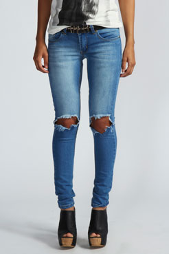 Izzie Open Knee Skinny Rigid Jeans at boohoo.com