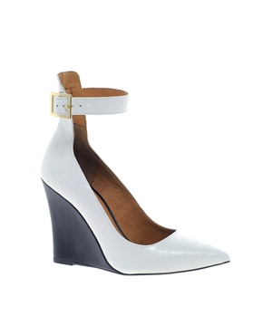 River Island | River Island Leather Plain Cuff Court Wedge at ASOS