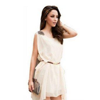 Amazon.com: Korea Women's Sleeveless Bead Chiffon Casual Mini Dress Summer Sundress: Clothing