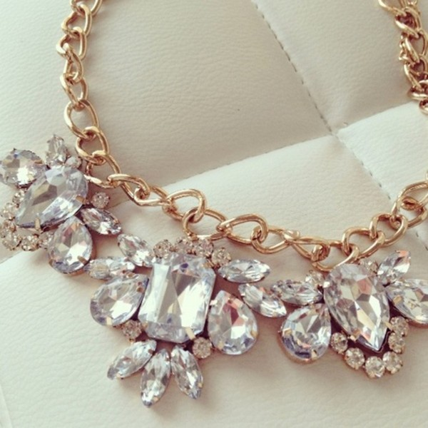 jewels diamonds diamond necklace necklace gold chain jewelry statement bib chain crystal gold statement necklace rhinestones pretty girly