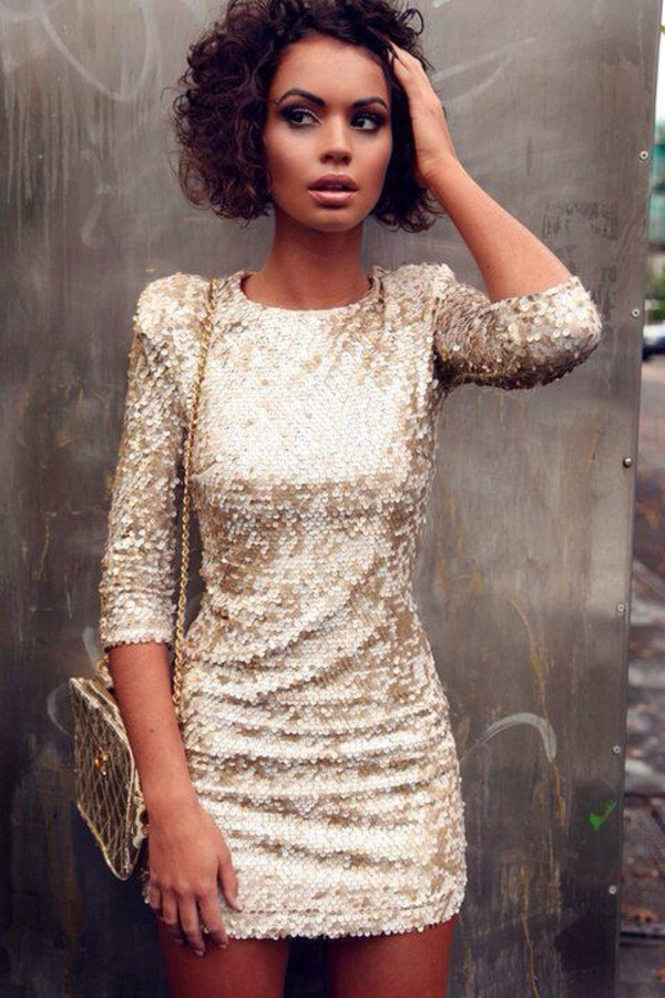 dress sequenced dress new year's eve gold cute