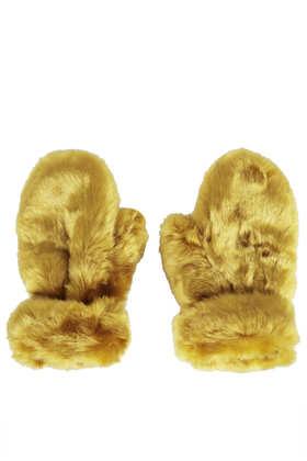 Lux Fur Mittens - Topshop