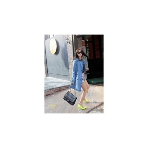 Double-Breasted Denim Jacket - SNFEEL - Polyvore