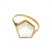3D HEX RING- 10k GOLD WITH QUARTZ STONE - C*3dHexRingQuartz10k   AESA