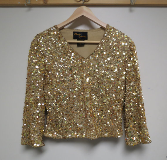 Vintage Evening Wear Blouse Gold Sequins by KansasKardsStudio