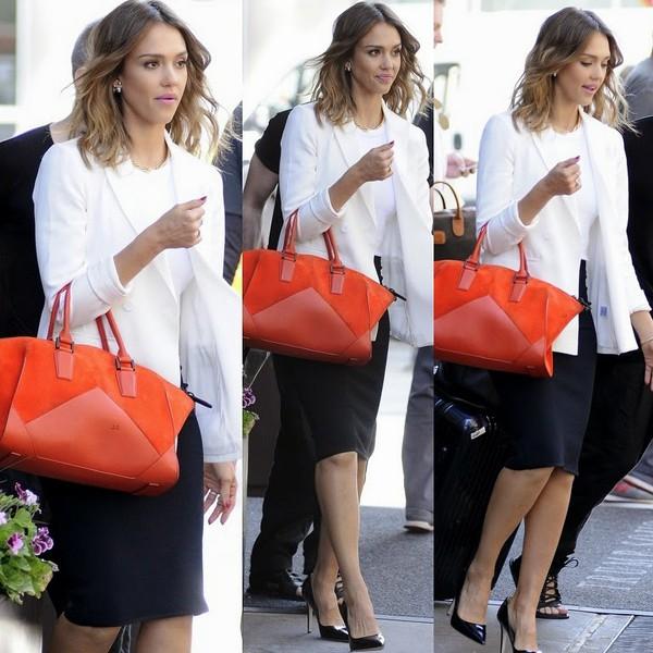 bag jessica alba shoes blazer skirt jacket