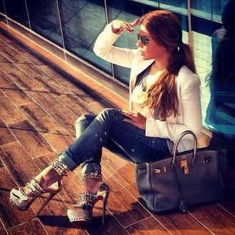 shoes high heels gold ankle strap studded shoes heels studded fashion bag clothes jacket jeans