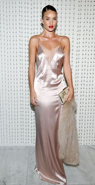 dress camisole rosie huntington-whiteley sexy dress nude nude dress maxi dress gown satin dress satin slip satin dress spaghetti straps dress