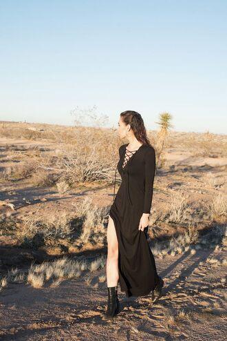dress tumblr black dress maxi dress slit dress long sleeves long sleeve dress lace up lace up dress boots black boots ankle boots
