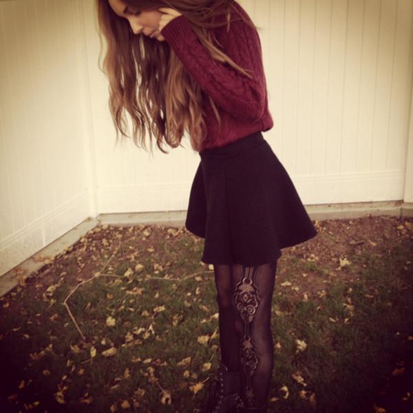 sweater burgundy black skirt mini skirt skirt tights pants