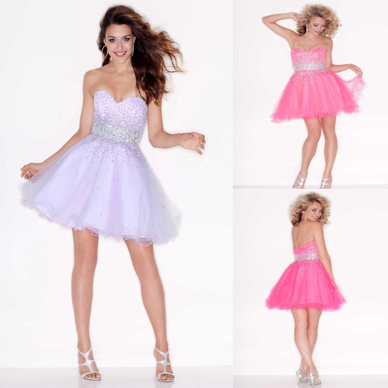 Sparkle Sweetheart Short A line Pink Light Purple Beaded Tulle Baby Girl Party Dress-in Homecoming Dresses from Apparel & Accessories on Aliexpress.com