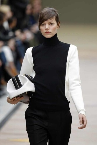 black sweater white sweater bicolor sweater