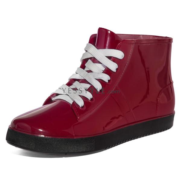 shoes lace-up ankle rain boots