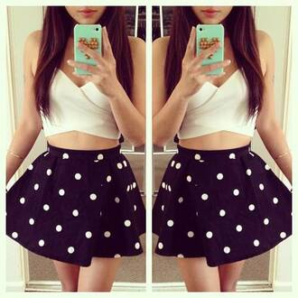 top white crop tops dark blue polka dots skirt studded iphone cover phone cover mint