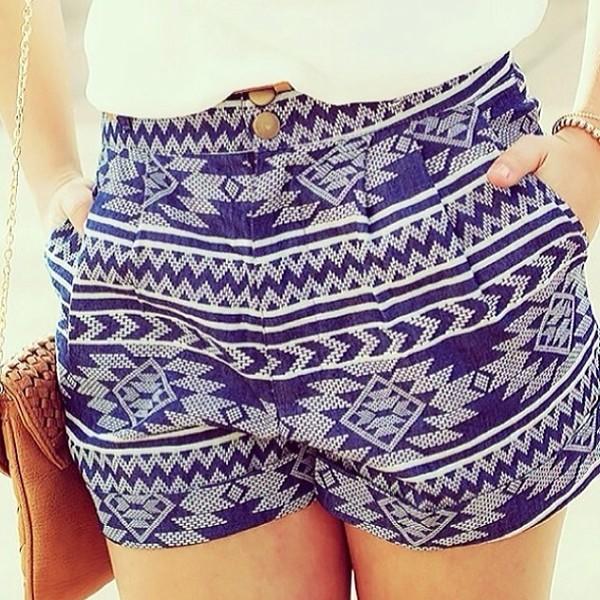 shorts blue tribal pretty aztec