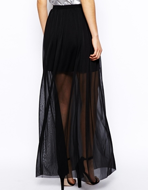 ASOS   ASOS Maxi Skirt In Sheer Mesh at ASOS