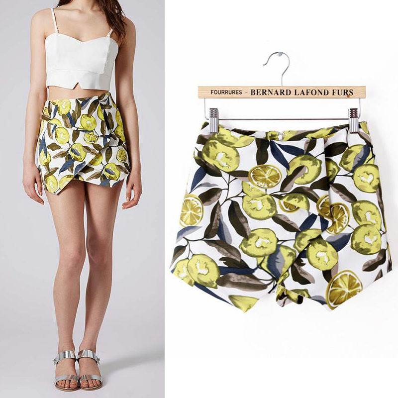 Aliexpress.com : Buy European style 2014 new women's fashion shorts wholesale printing lemon layered culottes shorts WDB 049 from Reliable Pants & Capris suppliers on Vogue Official Online Shop