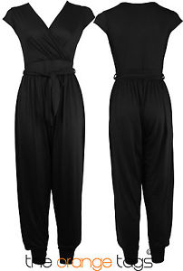 WOMENS CELEB CAP SLEEVE WRAP LADIES HAREEM JUMPSUIT PLAYSUIT TROUSER | eBay