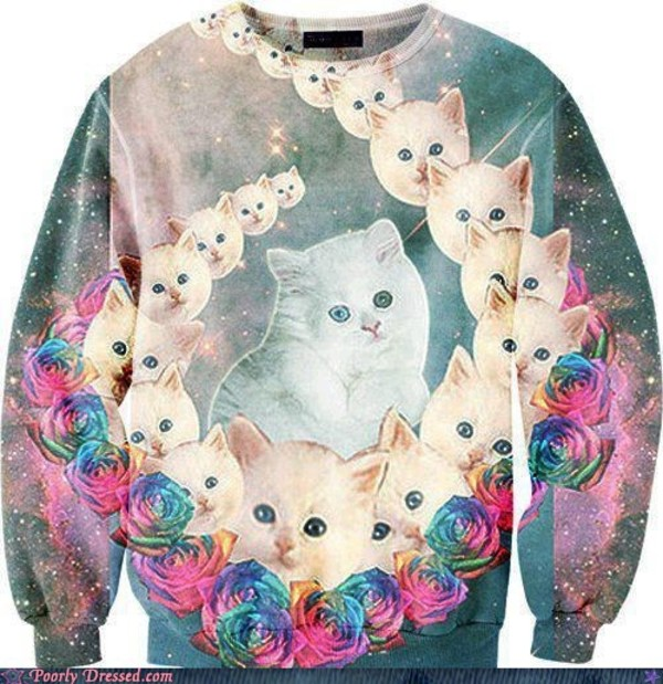 sweater cats shirt space cats