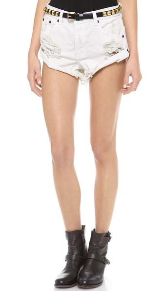One Teaspoon Worn White Bandit Shorts | SHOPBOP