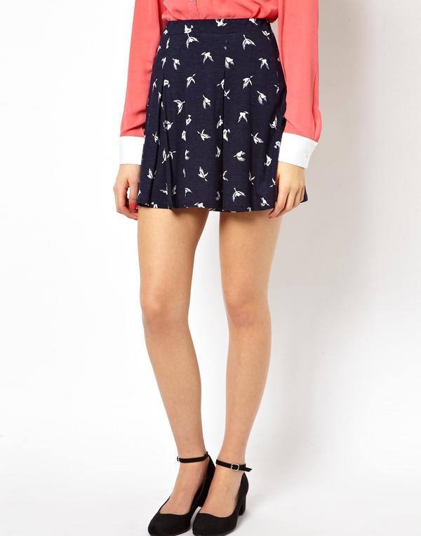 ASOS Skater Skirt in Bird Print Navy - Woman - Clothing - Habbage