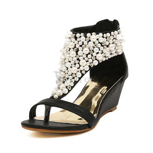 [USD $21.97] Fashion Wedge Heel Leatherette Peep Toe Beaded Sandals For Women on Zdress.com