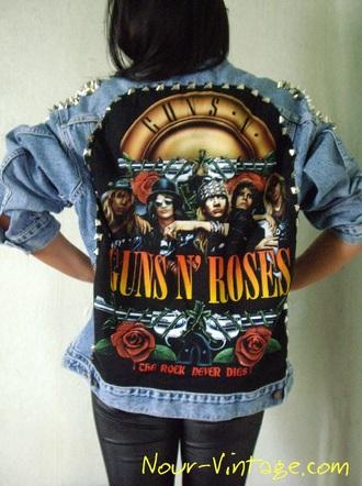jacket clothes denim vintage levis guns and roses studded jacket