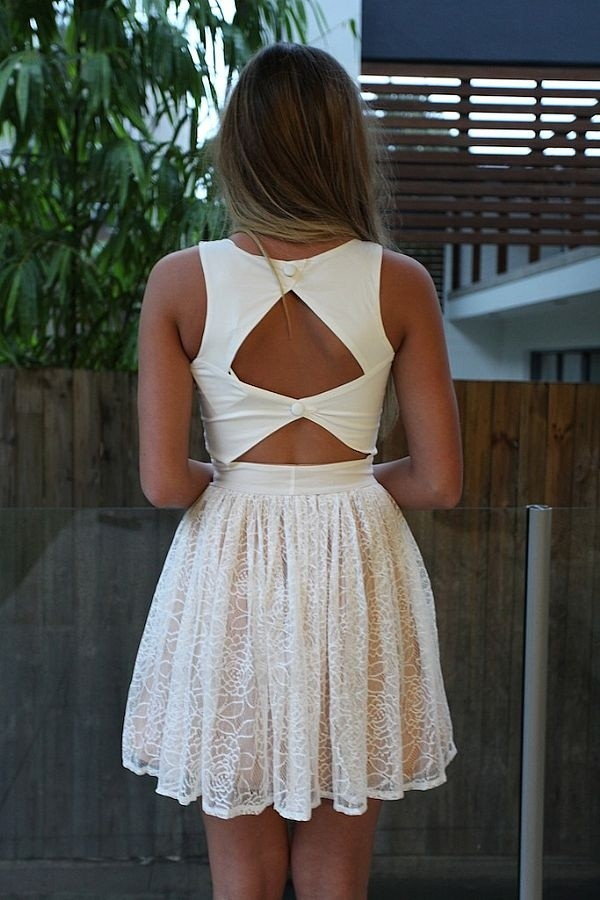 dress white dress Bow Back Dress