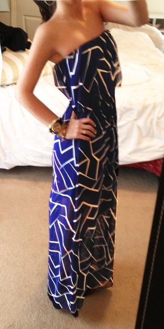 dress maxi dress maxi cobalt blue silver strapless navy blue dress
