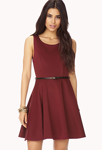 Scuba Knit A-Line Dress w/ Belt | FOREVER21 - 2000075050