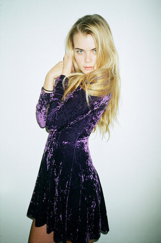 dress velvet purple holiday dress winter dress christmas dress skater dress blonde hair purple dress soft grunge long sleeve dress new year's eve party dress birthday dress holiday season
