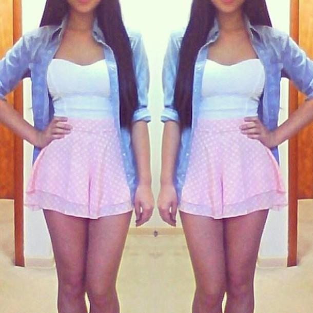 blouse crop tops skater skirt denim shirt skirt