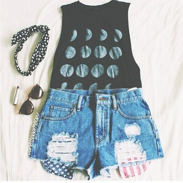 shorts sunglasses shirt black phases of the moon