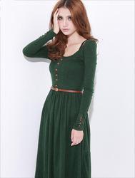 neue 2013 grüne retro elegante damen langarm rundhals stricken lange winterkleid