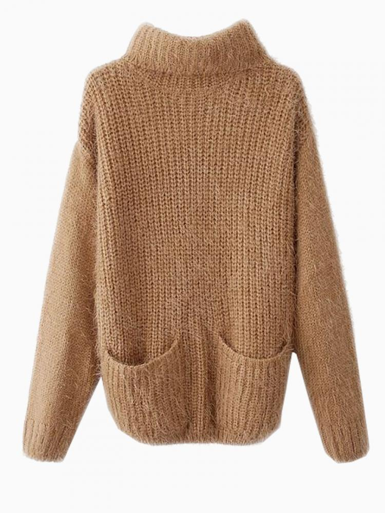 Mohair Knitted Jumper With Roll Neck   Choies