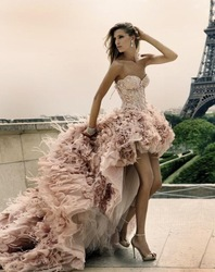 Gratis verzending  hoge  lage veer korte voorkant lange rug trouwjurken bruids toga jurk
