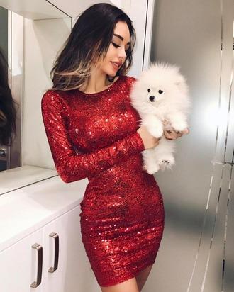 dress sparkle red dress