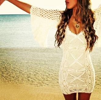 dress white dress fringes lace dress white crochet dress summer dress beach summer outfits cute dress cute knitted cardigan cream pretty cardigan net crochet ivory dress