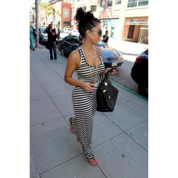 dress black and white black and white dress long dress kim kardashian