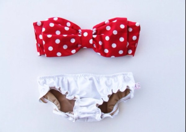 swimwear red bathing suit polka dotted